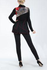 Tunique noire et rouge à col roulé et manches longues Wayne 304943