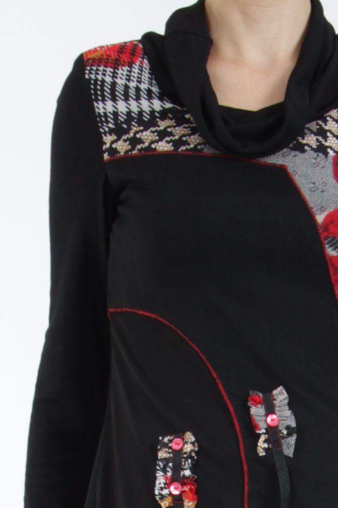 Tunique noire et rouge à col roulé et manches longues Wayne 304944