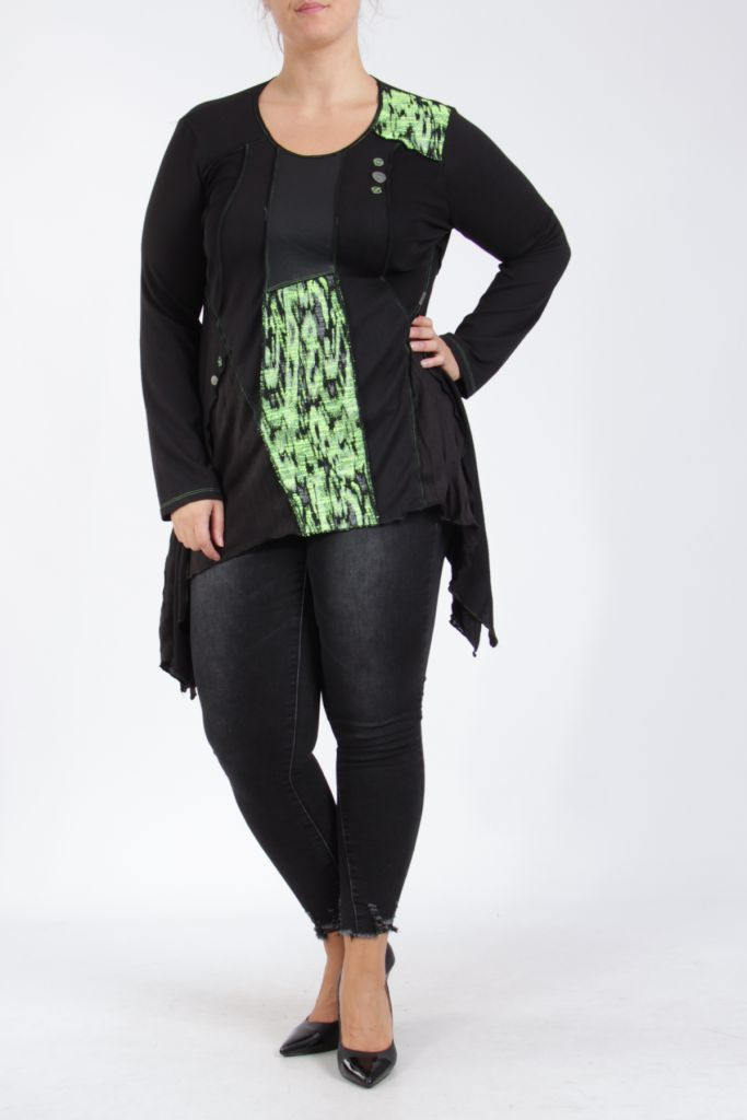 Tunique noire et verte grande taille originale pour femme Assa 305318