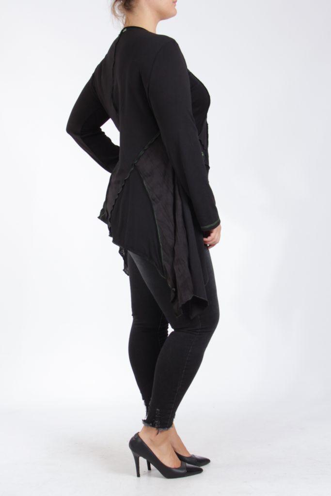 Tunique noire et verte grande taille originale pour femme Assa 305319