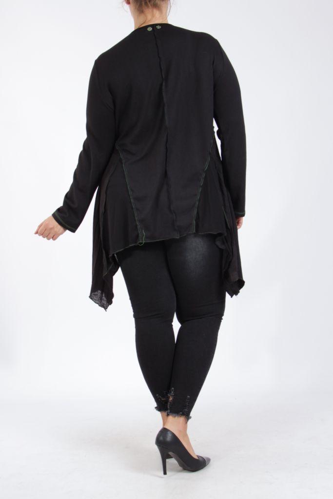 Tunique noire et verte grande taille originale pour femme Assa 305320