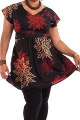 Tunique Noire Ethnique pour femmes rondes Colorée Alpha 284311