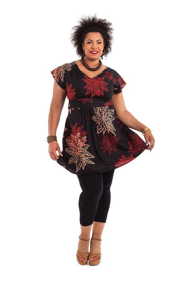 Tunique Noire Ethnique pour femmes rondes Colorée Alpha 284312