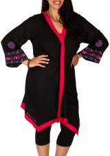 Tunique noire grande taille longue et brodée à col V Sarah 309774