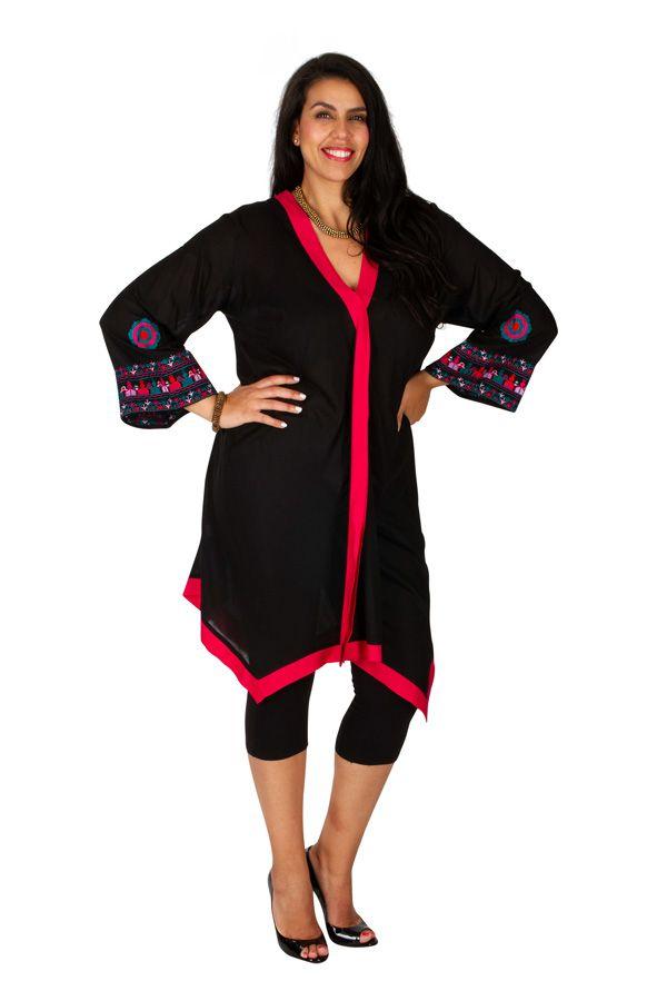 Tunique noire grande taille longue et brodée à col V Sarah 309775