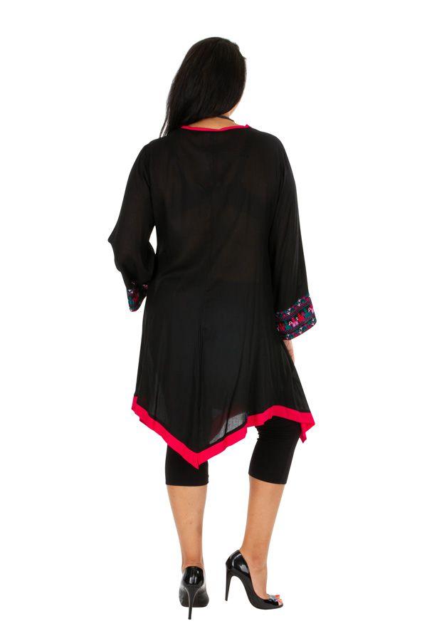 Tunique noire grande taille longue et brodée à col V Sarah 309776