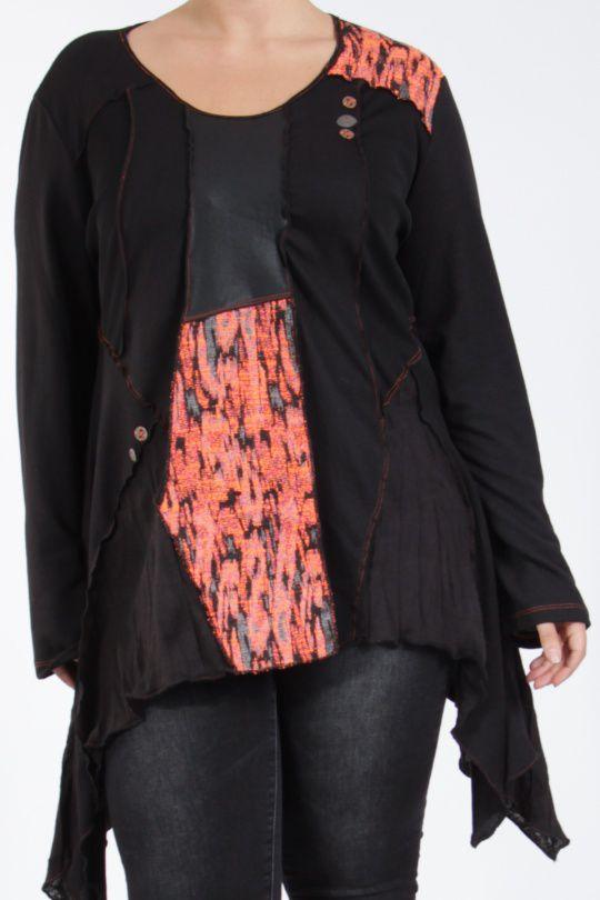 Tunique noire grande taille originale pour femme Assa 305308