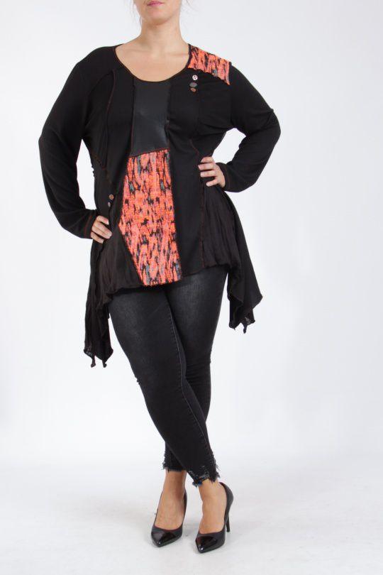 Tunique noire grande taille originale pour femme Assa 305309