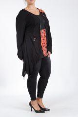 Tunique noire grande taille originale pour femme Assa 305310