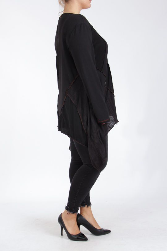 Tunique noire grande taille originale pour femme Assa 305311