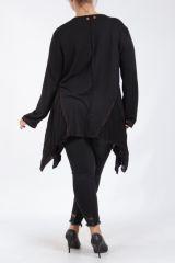 Tunique noire grande taille originale pour femme Assa 305312
