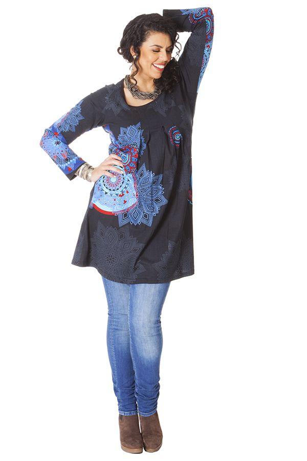 Tunique Noire Originale et Ethnique pour femme pulpeuse Yetty 286572