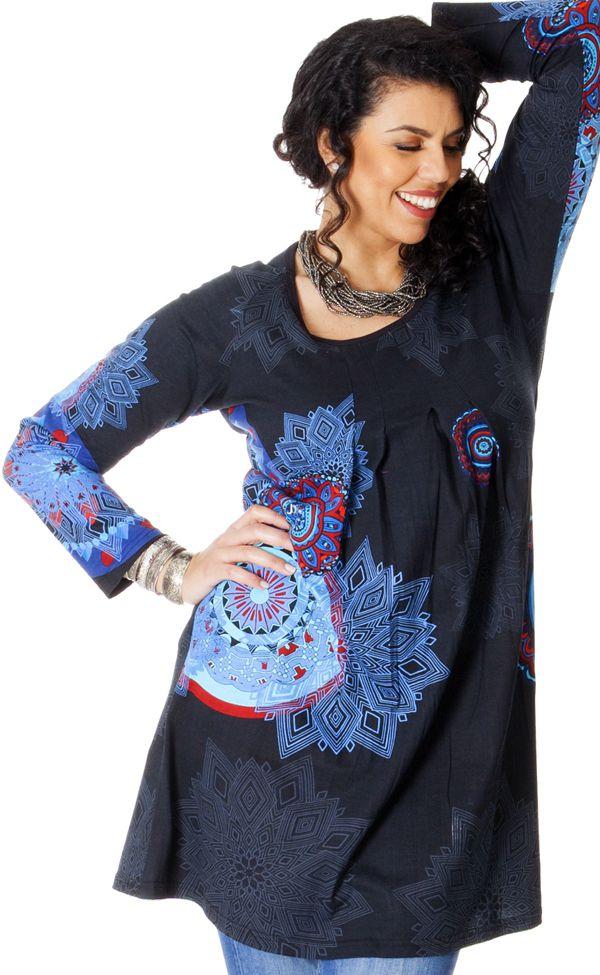 Tunique Noire Originale et Ethnique pour femme pulpeuse Yetty 286722
