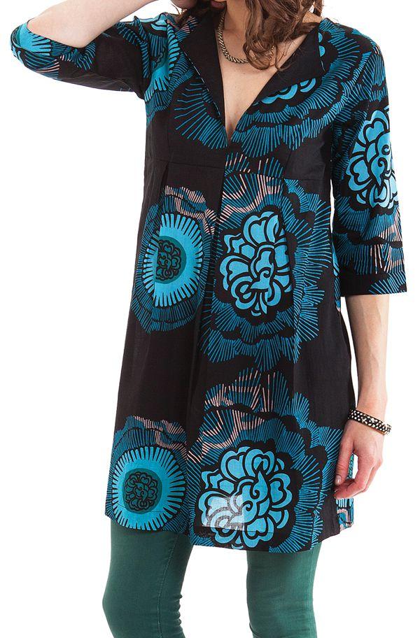 Tunique Noire pour femme à col Tunisien Originale Anita 281907. Loading zoom