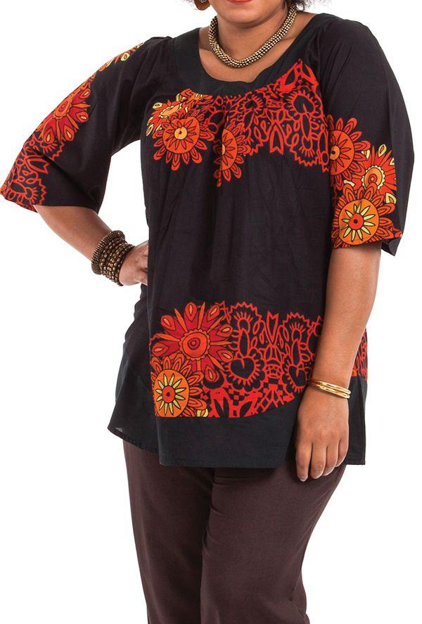 Tunique noire pour femme en grande taille pas chère Enola 284709