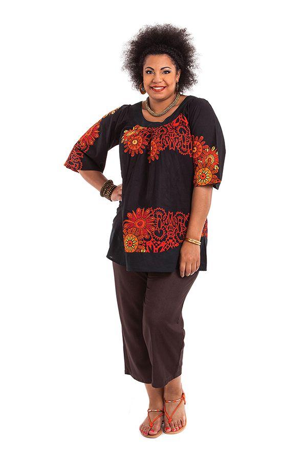 Tunique noire pour femme en grande taille pas chère Enola 284710