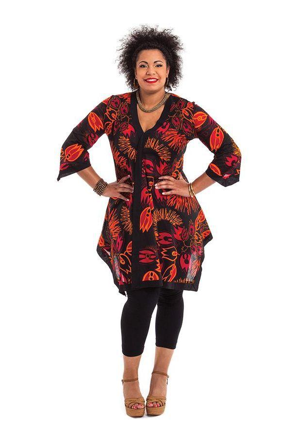 Tunique noire pour femme pulpeuse asym trique et color e - Femme pulpeuse image ...