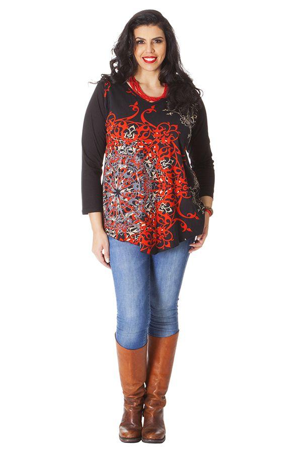 Tunique Noire pour femme ronde Ethnique Col en V Gaby 286509
