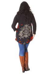 Tunique Noire pour femme ronde Ethnique Col en V Gaby 286510