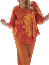 Tunique Orange en Grande taille Originale et Asymétrique Lorena 294473