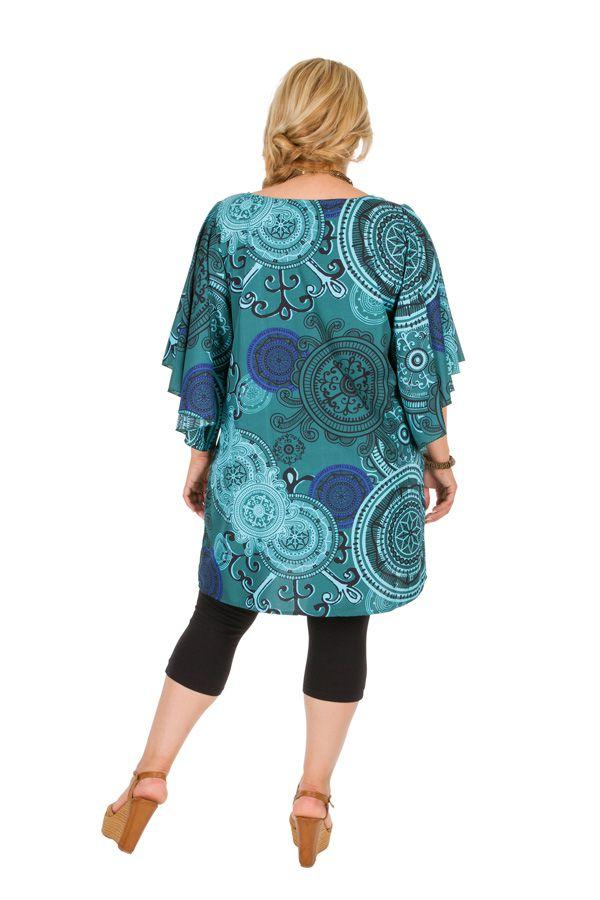 Tunique originale de couleur turquoise grande taille Haley
