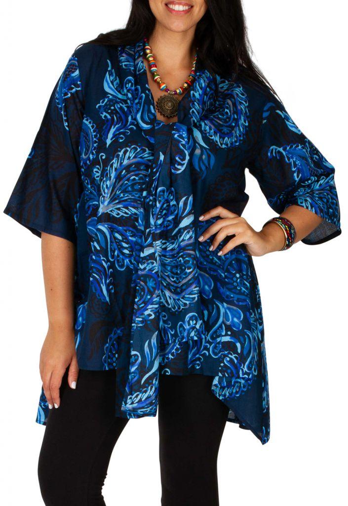 Tunique originale et chic à col foulard grande taille Elly