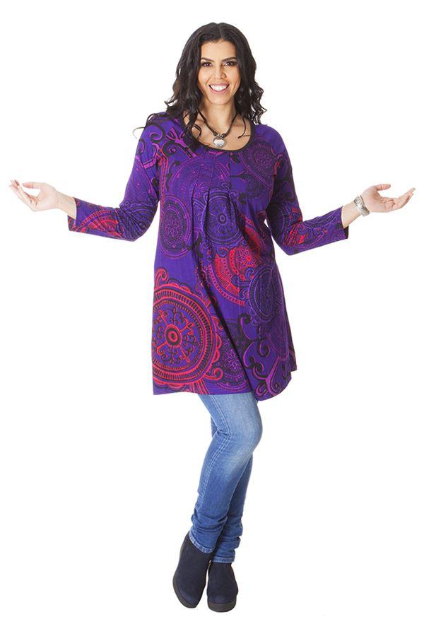 Tunique Originale et Colorée pour femme pulpeuse Yetty Violette 286563
