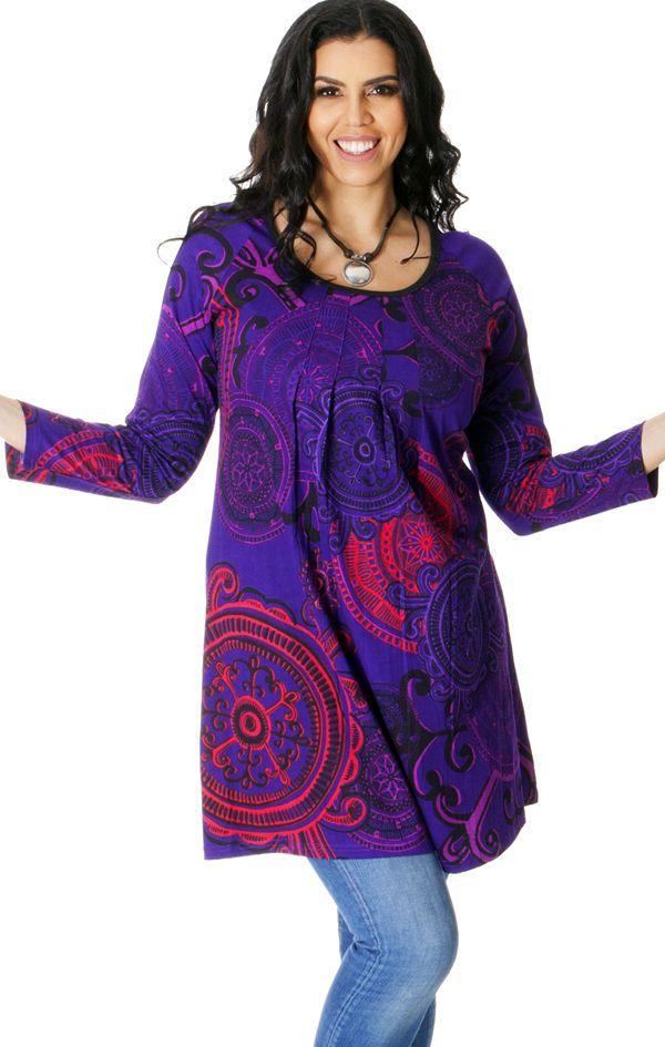 Tunique Originale et Colorée pour femme pulpeuse Yetty Violette 286725