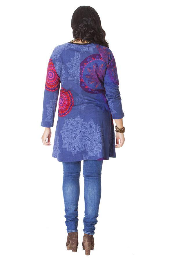 Tunique Originale et Ethnique pour femme pulpeuse Yetty Bleue 286570