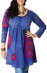 Tunique Originale et Ethnique pour femme pulpeuse Yetty Bleue 286723