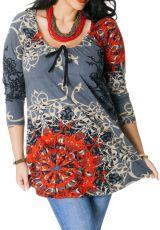Tunique Originale et Imprimée Grande Taille Diana Grise 286702
