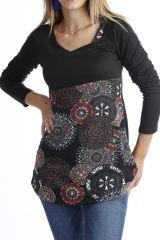 Tunique originale ethnique imprimée à manches longues Noir Eulalie 302529