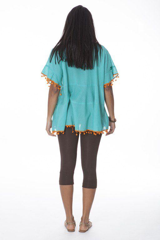 Tunique originale femme bleue manches courtes Sanna 288110