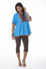 Tunique originale femme manches courtes bleue Arwen 288138