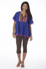 Tunique originale femme manches courtes bleue Kim 288134