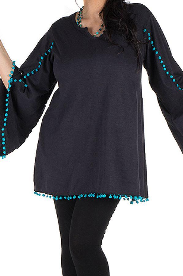 Tunique originale manches amples Noire chic et tendance Wassila 302373