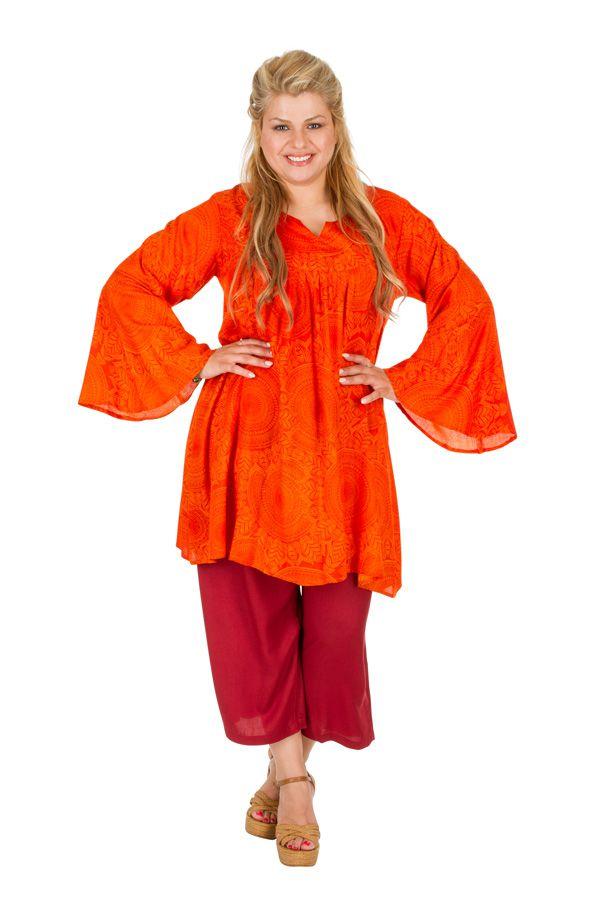 Tunique originale orange femme grande taille Lindsey