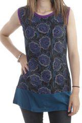 Tunique originale sans manches à imprimé fleuri violette Grelot 297016