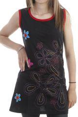 Tunique originale sans manches à imprimé floral brodé noire Lovely 296963