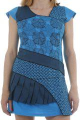 Tunique originale turquoise à empiècements effet robe Flavy 311761