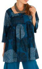 Tunique orignale bleue à col carré et manches 3/4 Meily 314905