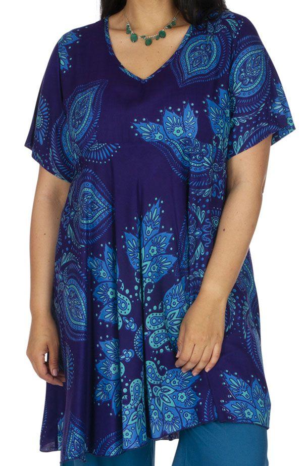 Tunique ou robe courte ethnique en grande taille Elestre