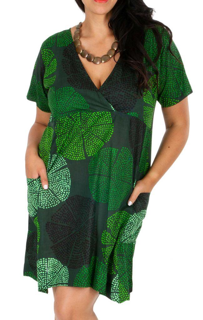 Tunique ou robe de plage verte grande taille Lyna 309680