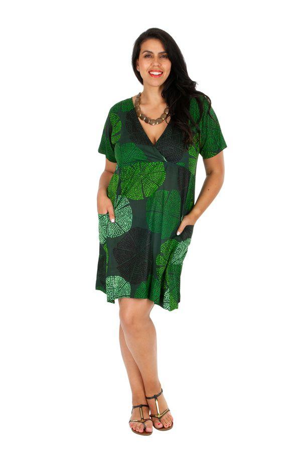 Tunique ou robe de plage verte grande taille Lyna 309681