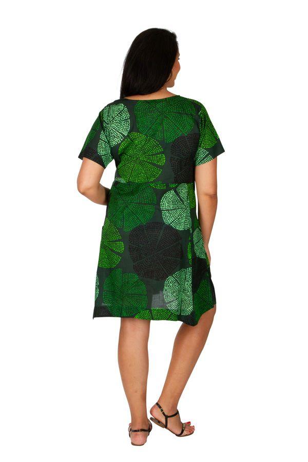 Tunique ou robe de plage verte grande taille Lyna 309682
