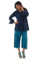 tunique plissée unie bleue avec pompons Haize 290381