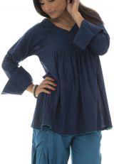 tunique plissée unie bleue avec pompons Haize 291981