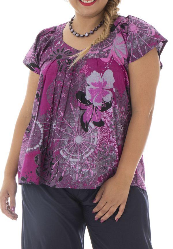 Tunique plus size florale à manches courtes et col v Lumi 295397