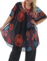 Tunique plus size forme poncho imprimé coloré Rana 295447