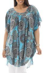 Tunique plus size forme poncho imprimé seventies Rana 295441